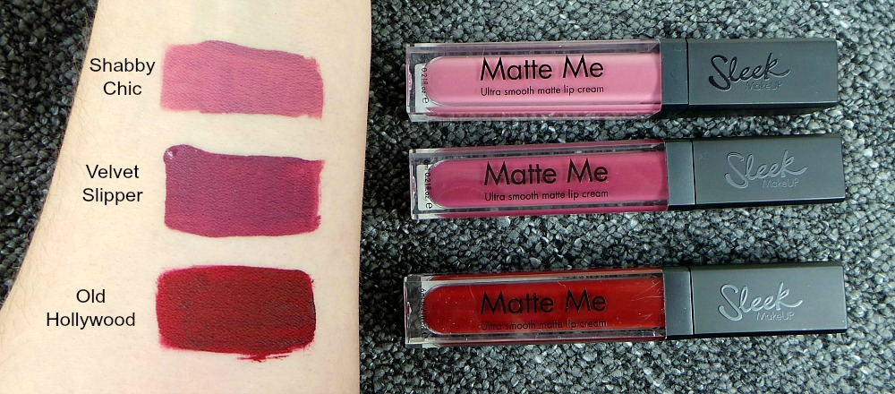 sleek Matte me Lip Cream swatches