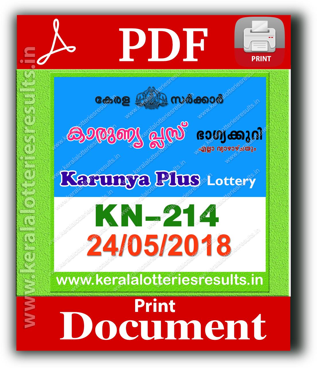 Kerala Lottery 24.05.2018 Karunya Plus KN 214 Lottery