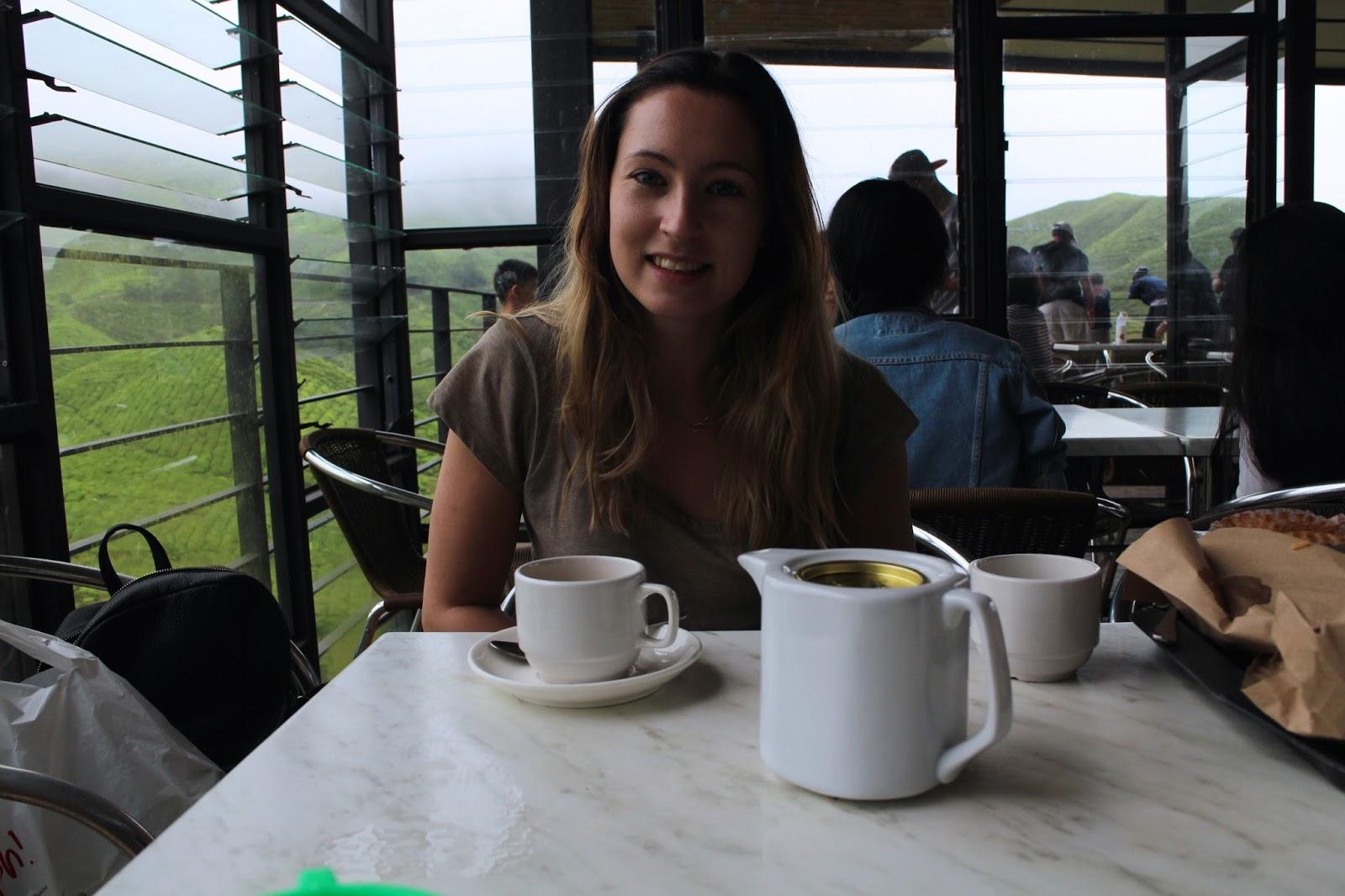 Having tea across the plantations
