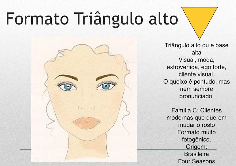 VISAGISMO  FORMATO DE ROSTO TRIÂNGULO ALTO   Visagismo 293ea1fc18