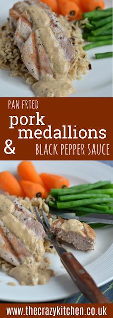 Pan Fried Pork Medallions with Black Pepper Sauce