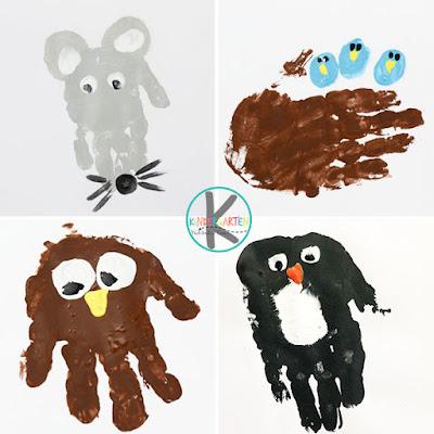 letter m, lettter n, letter o, letter p handprint crafts for kids alphabet book