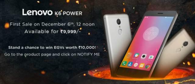 Lenovo K6 Power Launch Offers Via Flipkart