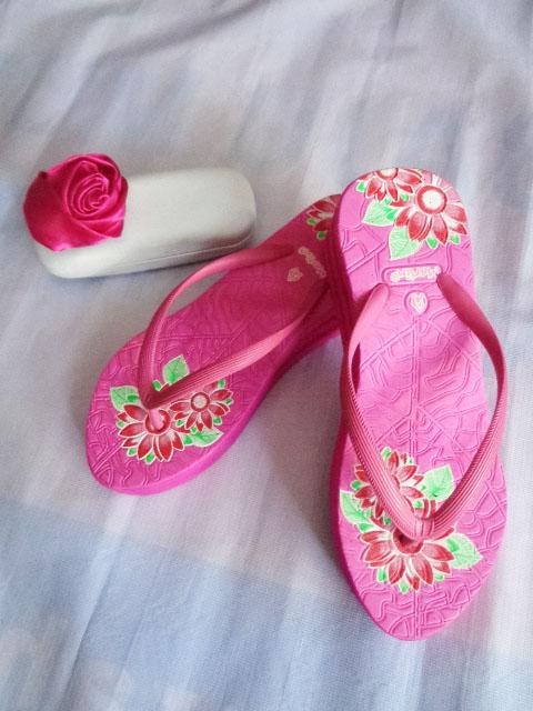 Sandal Merlin ASLI Spon IMPORT Tebal Print pink