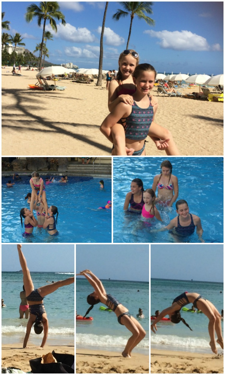 Cheerleaders took over the pool and the beach