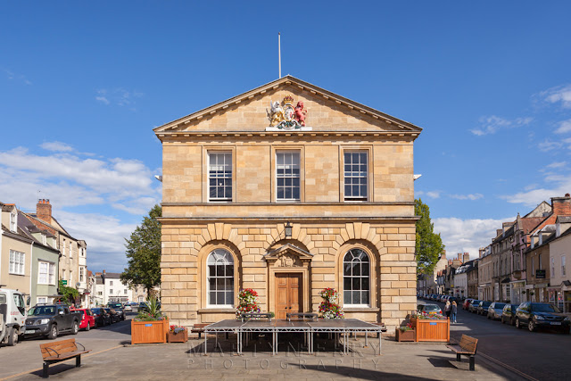Woodstock Oxfordshire town hall on a sunny day
