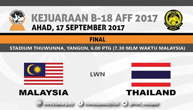Live Streaming Malaysia U18 vs Thailand U18 17.9.2017 Final AFF