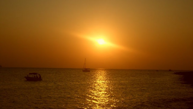 Sunset in Ibiza over the sea