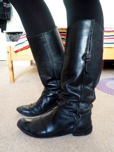 Back to the Start - outfit shoe details of tall black leather riding style boots with straps