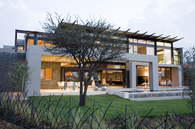 Modern home from the backyard