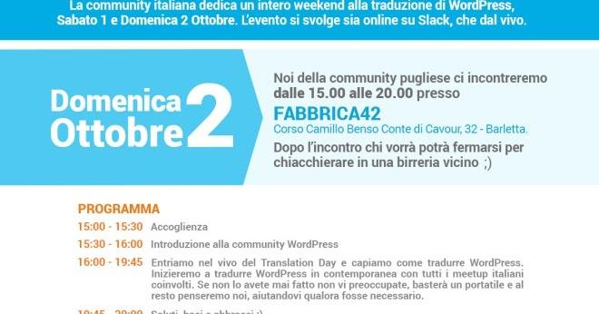 WordPress Translation Day 2016: a Barletta l'evento pugliese