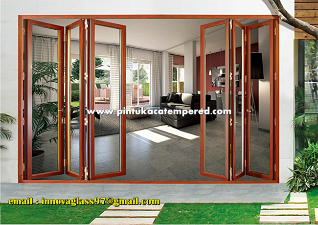 Pintu Kaca Lipat Aluminium Minimalis