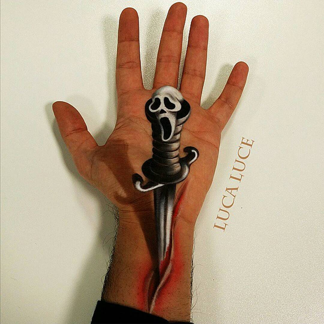 16-Scream-Dagger-Luca-Luce-Body-Painting-with-3D-Hand-Drawings-www-designstack-co