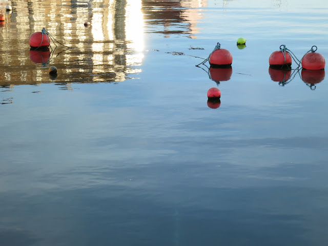 Red buoys sitting in the reflection of the sides of a tidal harbour