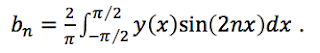 The n'th coefficient b_n, an integral of the function times the sine, for different frequencies.