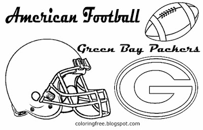 Green Bay Packers printable NFC American football coloring book pages for boys North US sport games