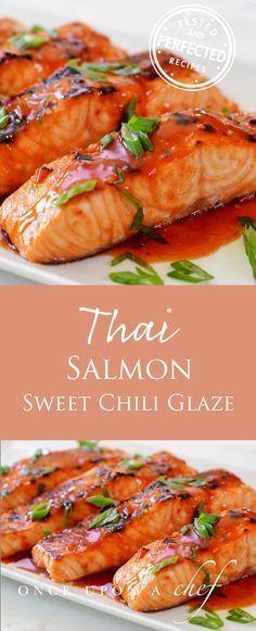 Broìled Salmon wìth Thaì Sweet Chìlì Glaze
