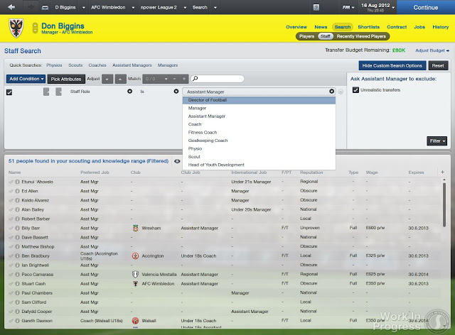 Staff Search Screen In Football Manager 2013