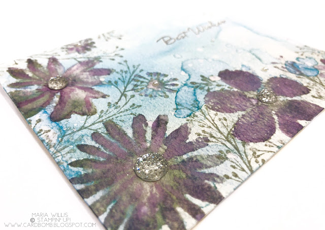 #cardbomb, Stampin' Up!, Card bomb, #stampinup, Blooms & Wishes, #watercolor, flowers, technique, Stamparatus, #stamparatus, stamp positioner, stamp, ink, paper, paper craft, handmade, cards,