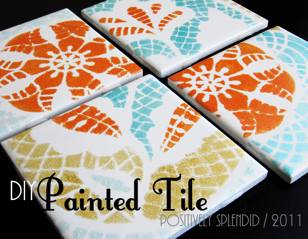 diy painted ceramic tile tutorial