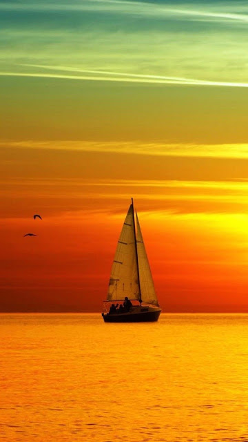 Sfondi gratis per smartphone Android, barca a vela, tramonto