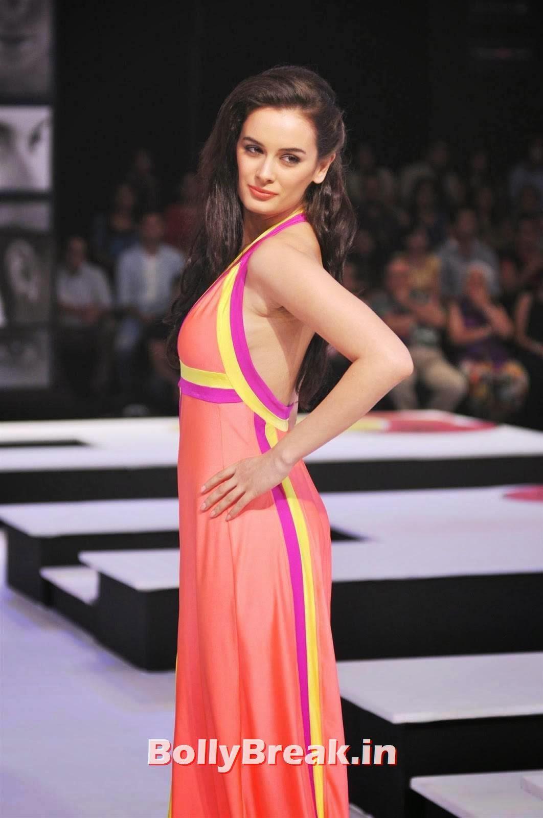 , Evelyn Sharma HD hot Photos in Orange Dress - ramp Walk