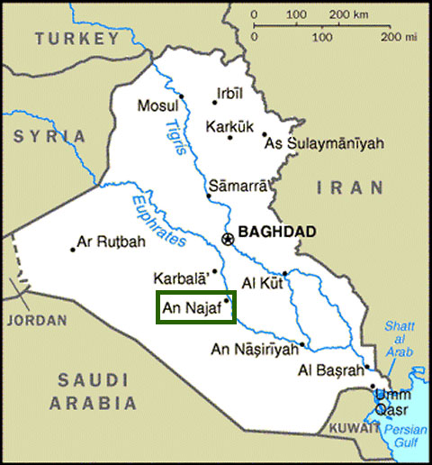 Map of An Najaf in Iraq
