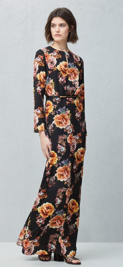 Robe longue d'été noire à fleurs manches longues Mango