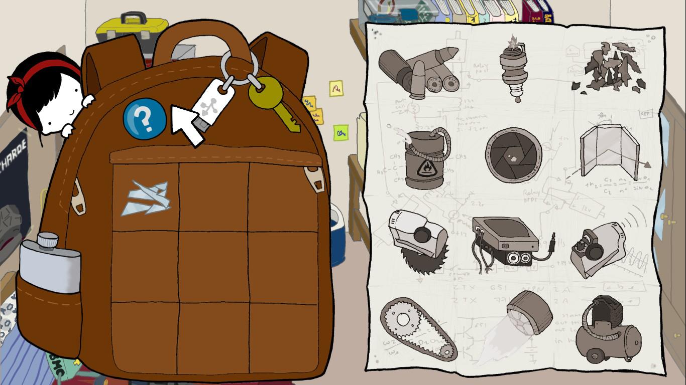 Vista de la mochila de Nika, que hace las veces de inventario, y la lista de componentes que todavía debe conseguir.
