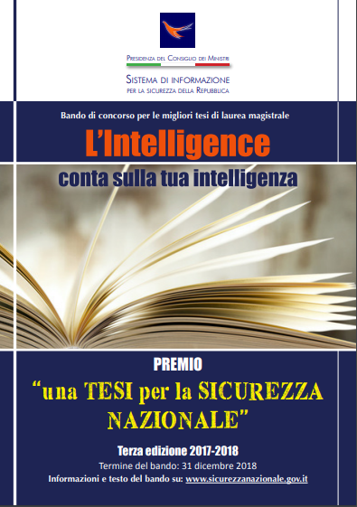 """L'Intelligence conta sulla tua intelligenza """"una tesi per la Sicurezza Nazionale"""""""