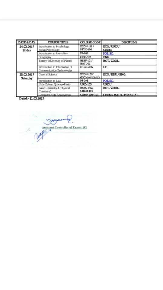 Revised Date Sheet of BS-4 year program 1st Semester session(2016-20)