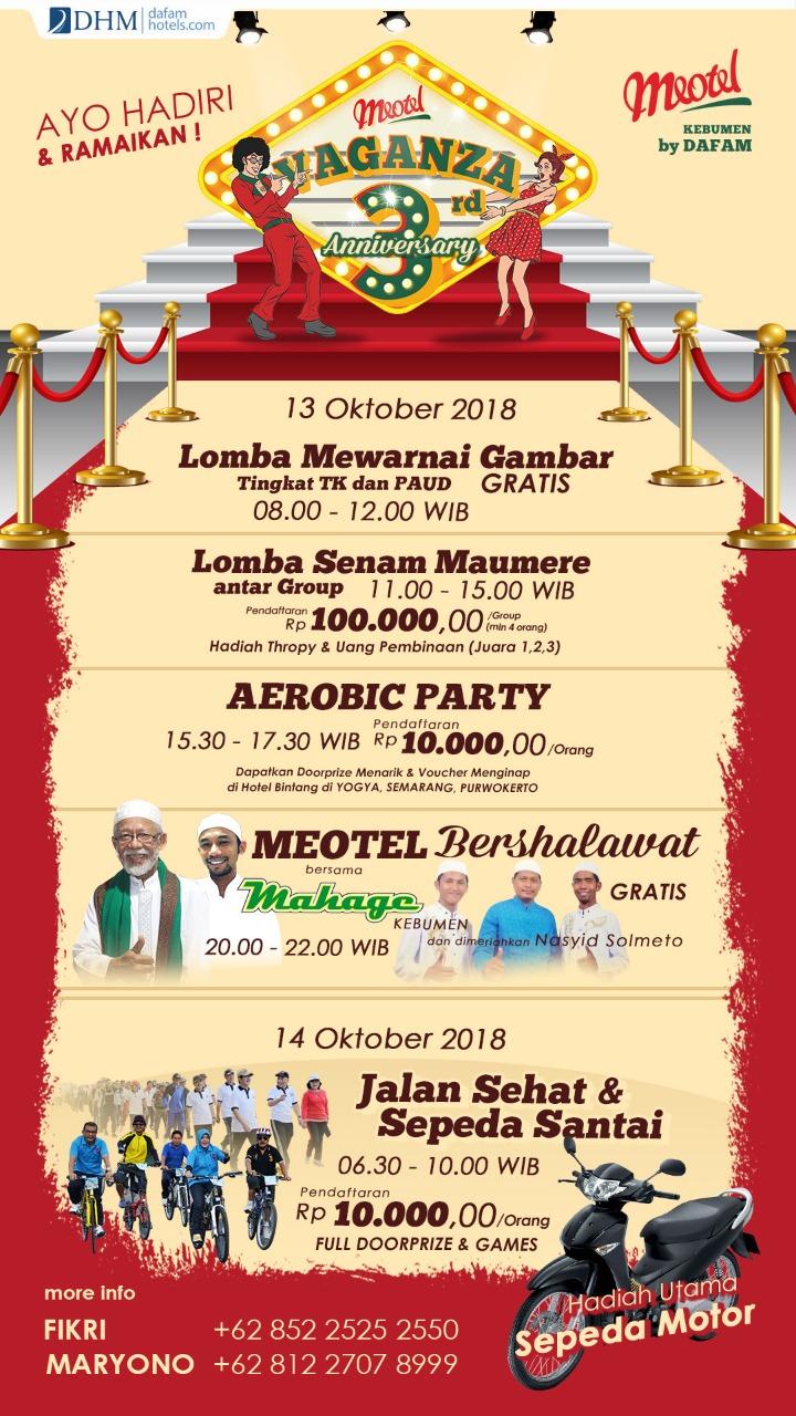 Lomba Mewarnai, Meotel Bershalawat hingga Jalan Santai Berhadiah Motor Bakal Meriahkan 3 Tahun Meotel Kebumen
