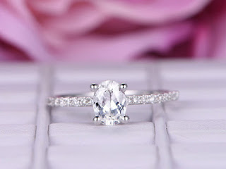 Simple Tips in Buying Couple, Promise, Engagement and Wedding Rings | Moissanite Engagement Rings: 1 carat 14k white gold  oval cut moissanite diamond engagement ring