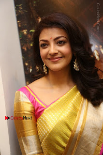 Actress Kajal Agarwal Stills in Golden Silk Saree at Trisha Sesigner Store Launch  0001.jpg