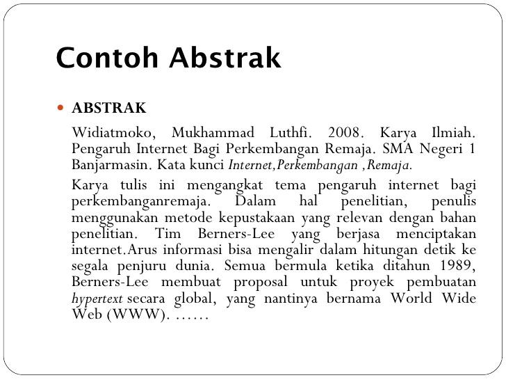 Contoh Abstrak Archives Karya Tulis Dan Makalah Ilmiah
