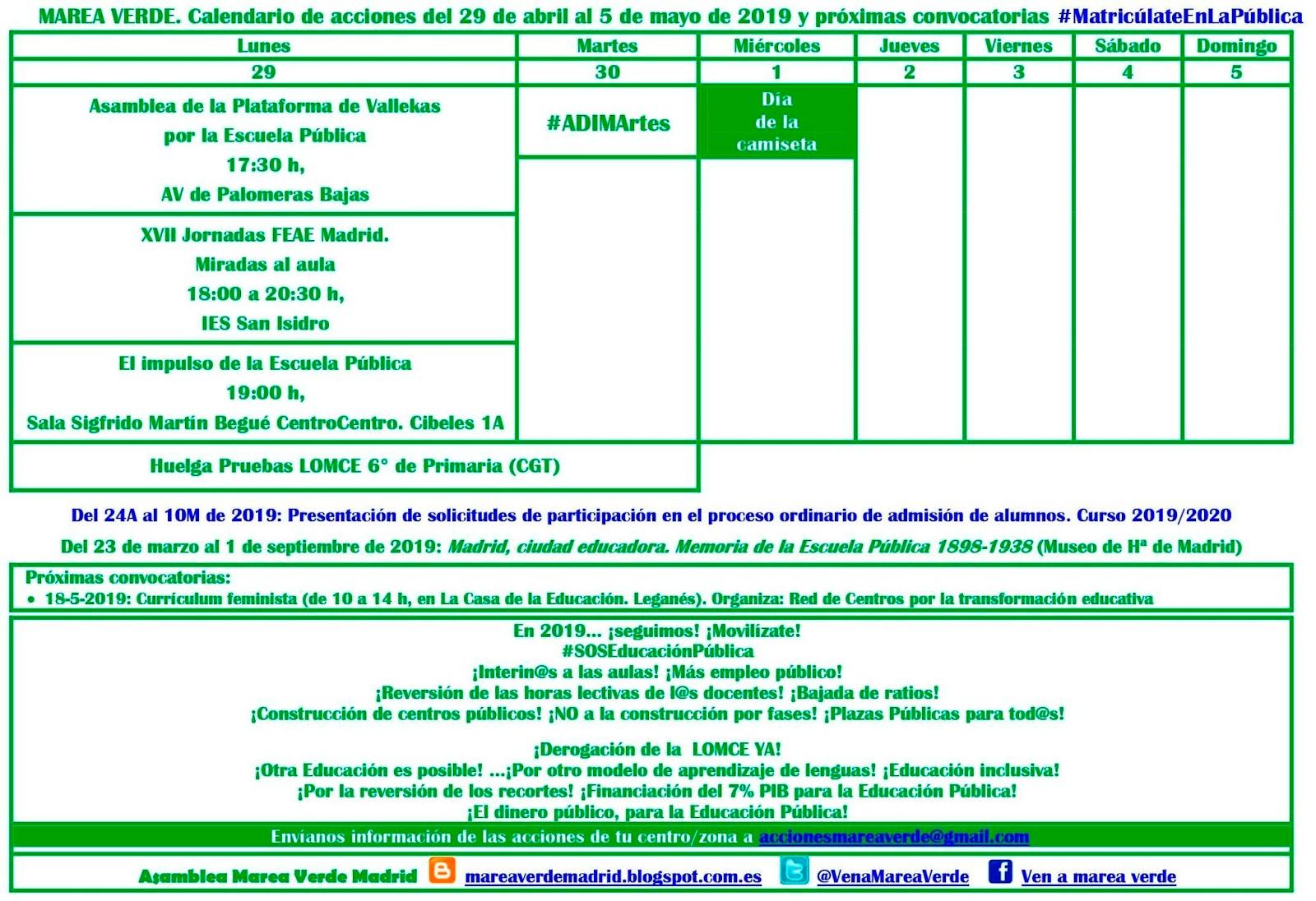 Calendario Selectividad 2020 Andalucia.Mareaverde Abril 2019