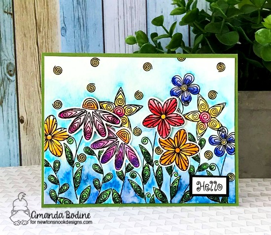 Beautiful Floral Card by Amanda Bodine | Beautiful Blossoms Stamp Set by Newton's Nook Designs #newtonsnook #handmade