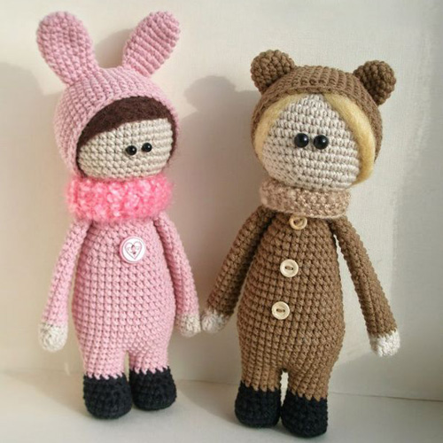 Dolls Wearing Animal Costumes - Free Pattern