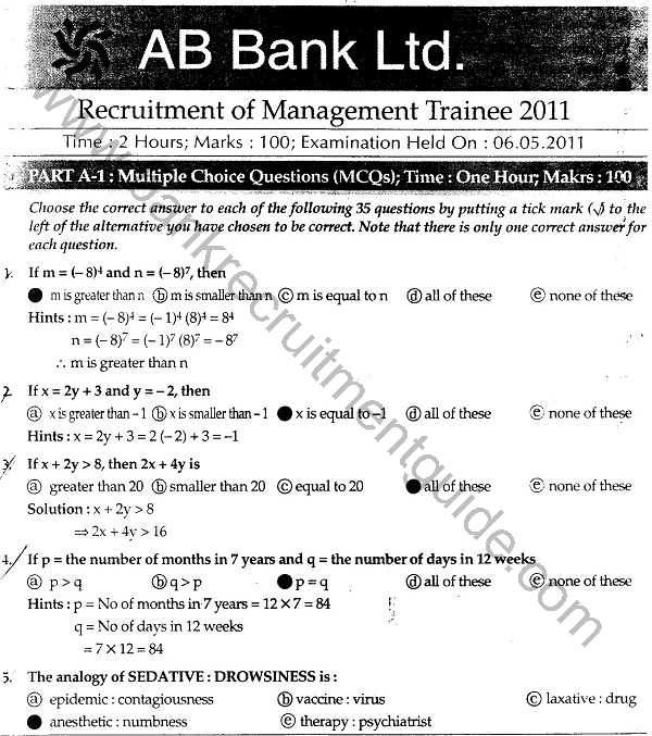 AB Bank Limited Recruitment Test Answers for Management