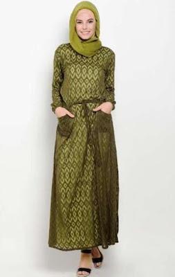 Contoh Baju Batik Remaja Kombinasi Jilbab