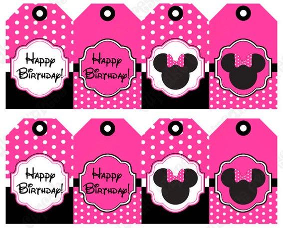 Mini Kit de Minnie Mouse Fucsia y Negro para Imprimir Gratis.
