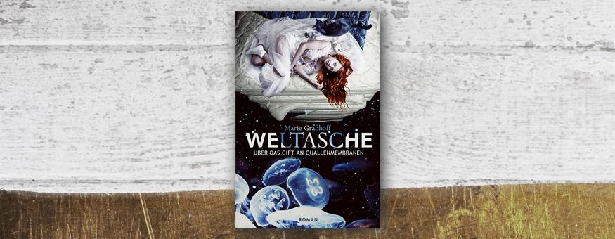 """M. Graßhoffs """"Weltasche"""" auf meiner Herbst-/Winter-Leseliste // Cover © Verlag/Autor // Grafik © fieberherz.de"""