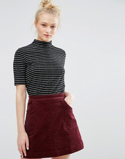 polo neck short sleeve top, striped high neck top, monki ribbed top,