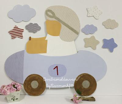 silueta infantil niño coche piloto -decoración infantil