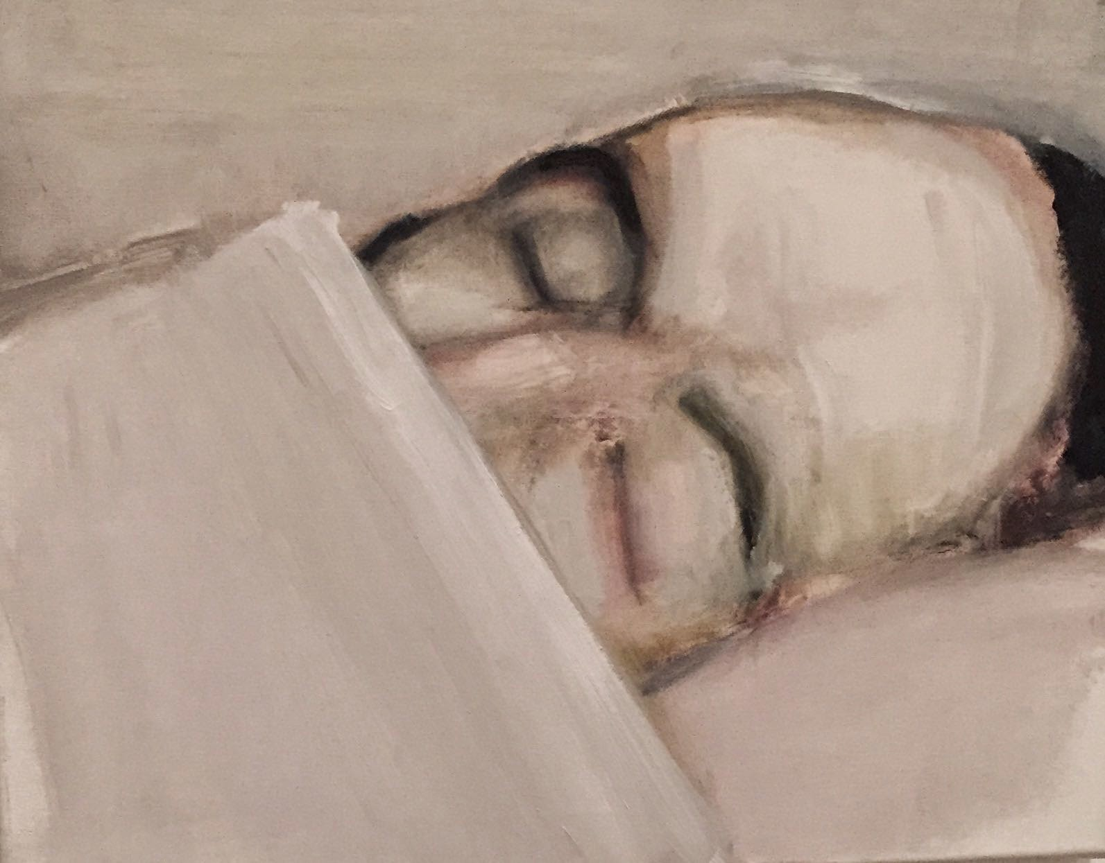 Painting by artist Marlene Dumas of a man dead lying down