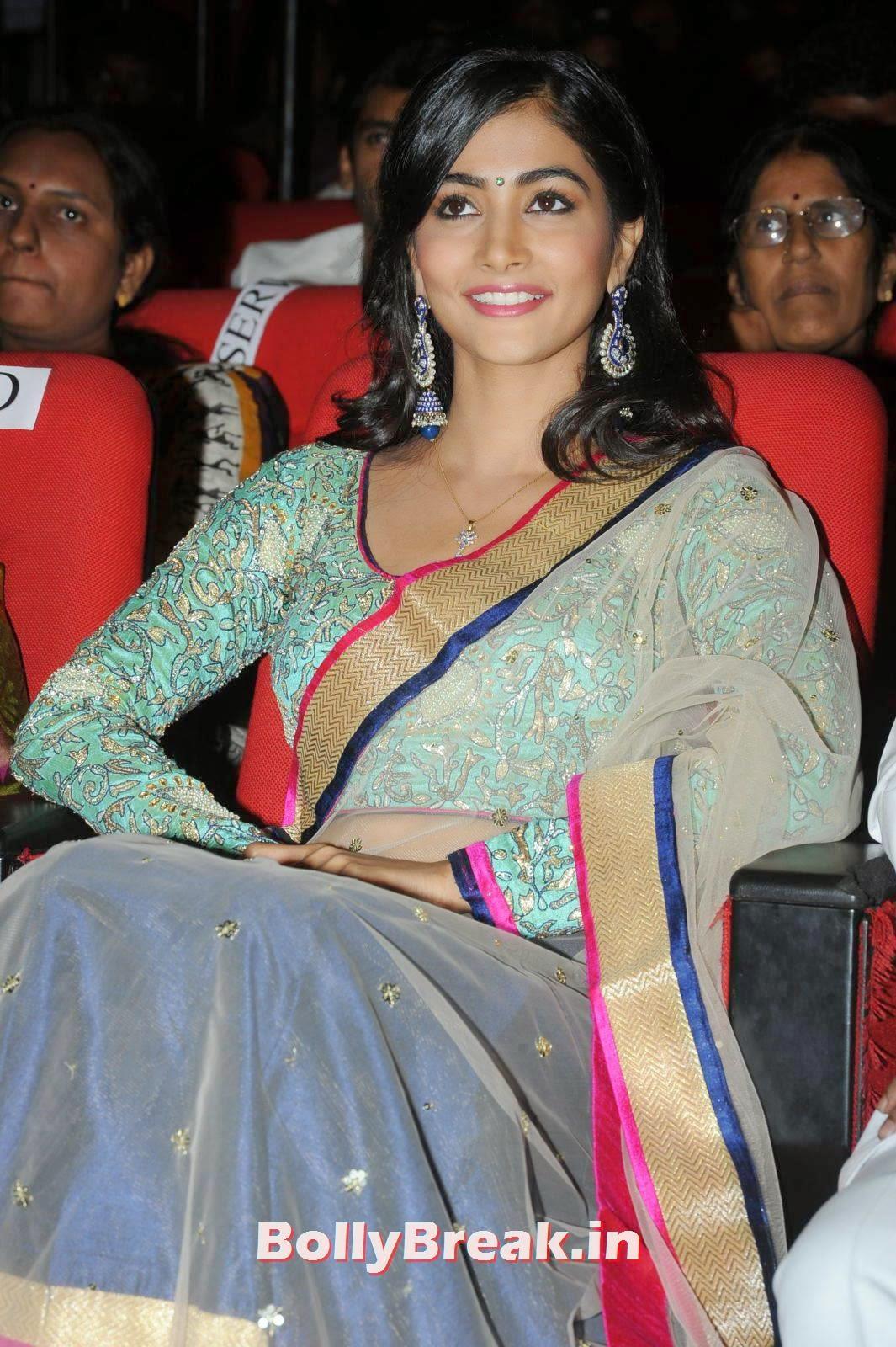 Actress Pooja Hegde images, hot Pics of Pooja Hegde from Mukunda Movie Audi Launch