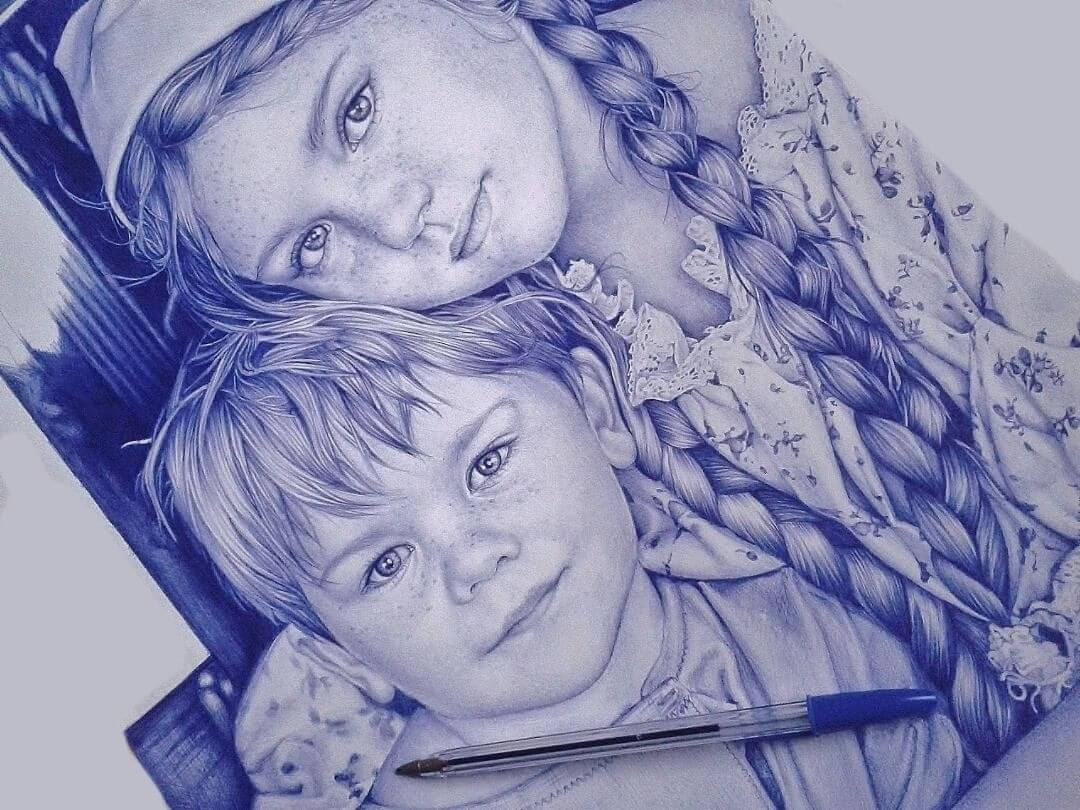 04-Children-Sonia-Davel-Indelible-Ballpoint-Pen-Portraits-www-designstack-co