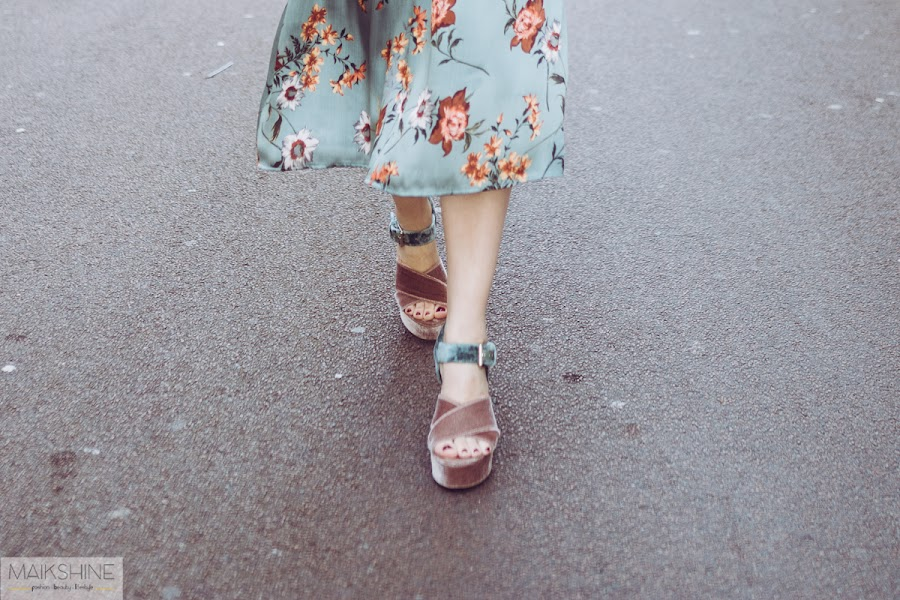 Sandalias de terciopelo rosa