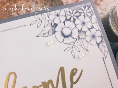 This pretty monochromatic card was created using the Flower Shower stamp set, along with the Welcome ATS set.  All supplies used were from Fun Stampers Journey.