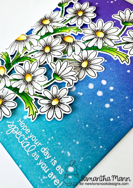 Special Birthday Daisies Card by Samantha Mann for Newton's Nook Designs, flowers, cards, card making, handmade cards, ink blending #newtonsnookdesigns #inkblending #distressinks #daisies